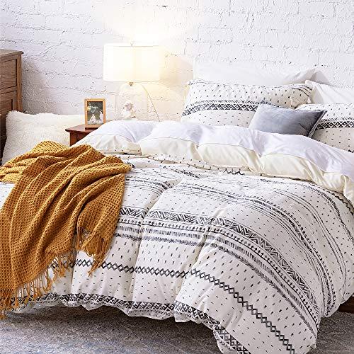 Bedsure 80% Cotton 20% Linen Duvet Cover Set, Washed Cotton Queen Comforter Cover, 3 Pieces...