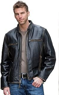 Men's Genuine Cowhide Leather Jacket (Black, Racer Jacket) - 1501638