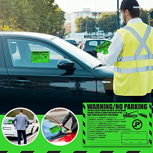 """Parking Violation Stickers for Cars (Fluorescent Green) - 100 Illegal Warning Reserved, Handicapped, Private Parking and More/No Parking Hard to Remove and Super Sticky Tow Warnings 8"""" x 5"""" by MESS Photo #7"""