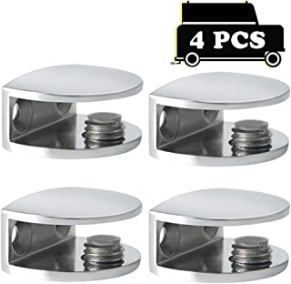 Alise 4 Pcs Adjustable Frameless Rectangle Glass Shelf Bracket Holder Heavy Duty Clamp Shelf Clip,BL3010-4P Polished Chrome