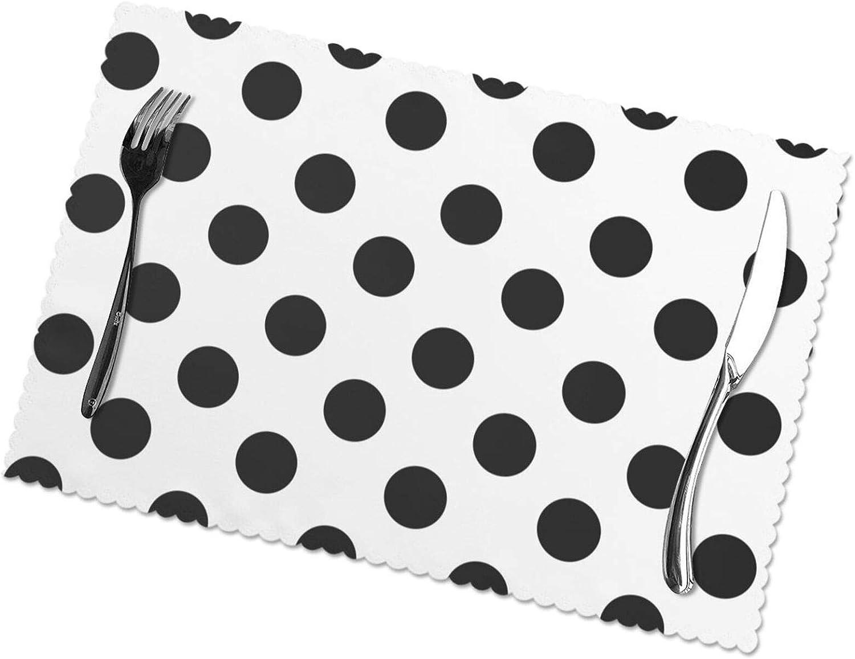 KAZOGU Juego de 6 manteles individuales, diseño de lunares, color negro, blanco, duradero, lavable, 6 unidades