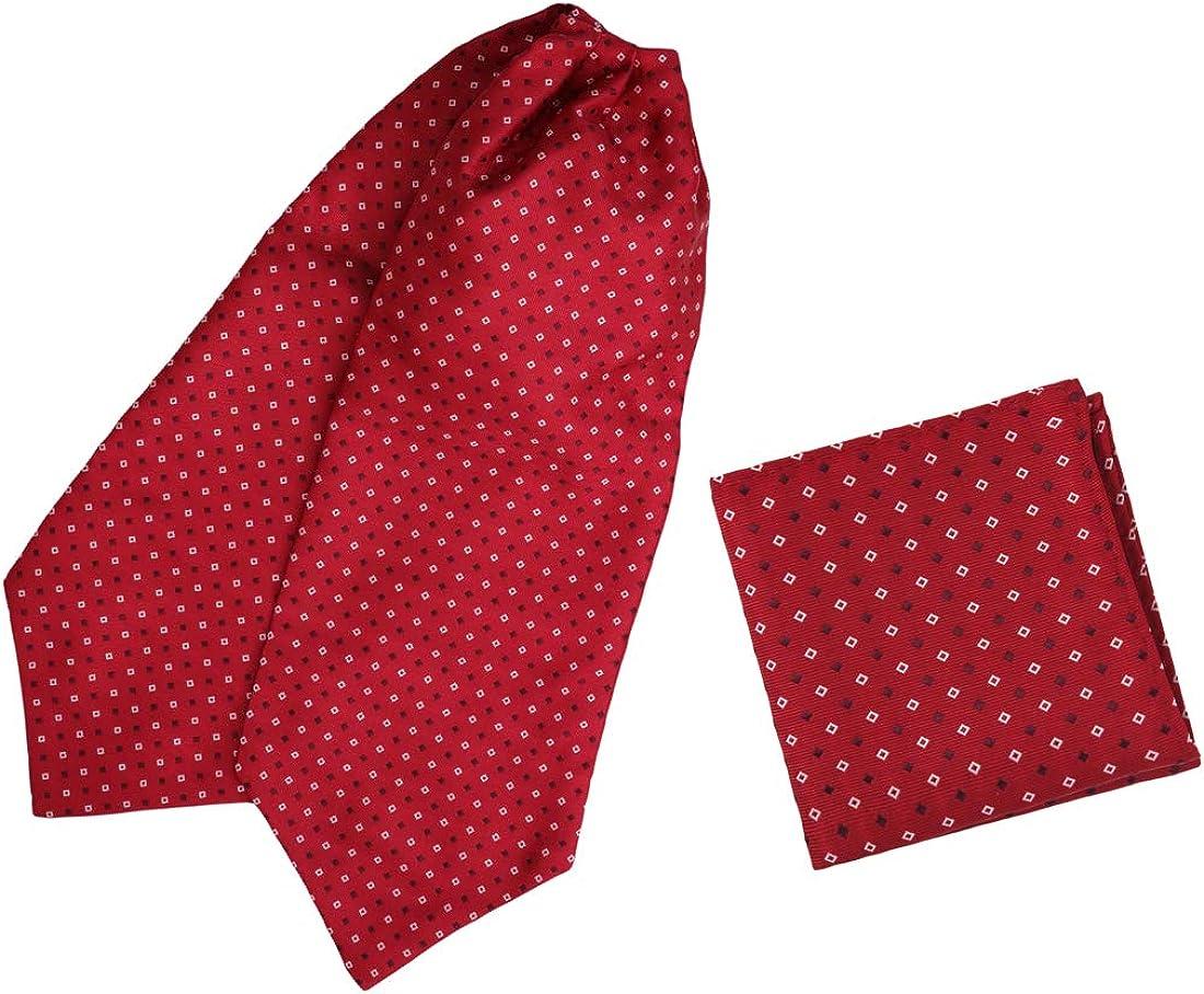 Epoint Men's Fashion Evening Paisley Cravat Silk Ascot Tie Pocket Square Set, Selection with Box Set
