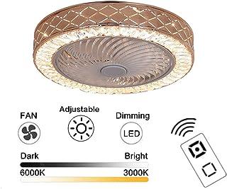 Ventiladores de techo KJLARS con lámparas de cristal y Luces LED ajustables modernas Ventilador invisible creativa Perfil bajo Montaje empotrado Forma de jaula Fandelier Dormitorio interior Vida 53Cm
