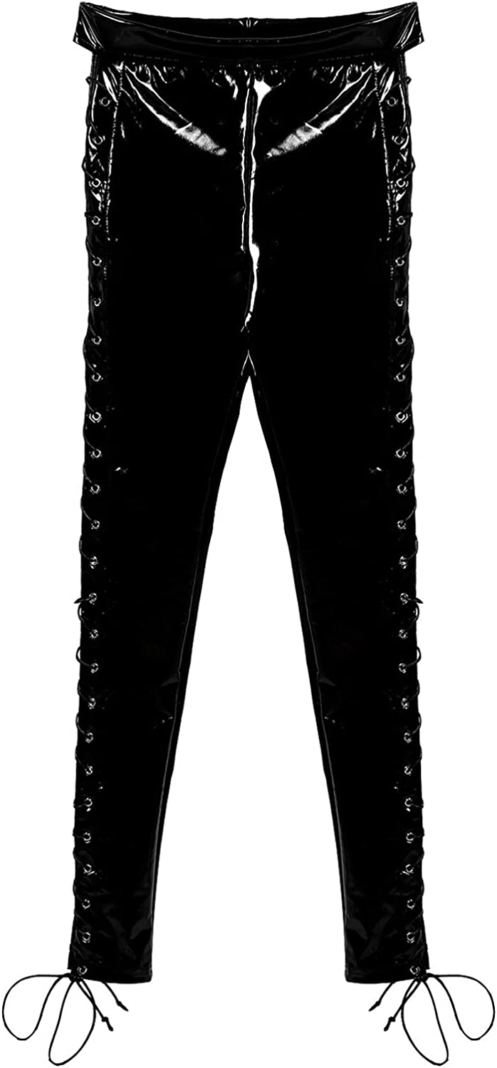 Sholeno Womens Patent Leather Skinny Leggings Side Lace up Slim Fit Long Pants Trousers Party Clubwear
