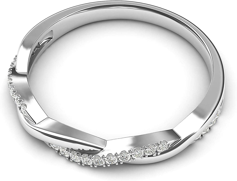 10k White Gold 2.5mm Petite Twisted Vine Simulated Diamond Ring Wedding Band Matching Ring