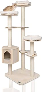 LAZY BUDDY Cat Tree, Wooden Modern Cat Tower, 6 Levels for Cat's Activity, Cat Furniture with Removable and Washable Mats for Kittens, Large Cats and Pets