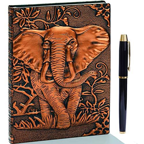 Diario de piel en relieve vintage con juego de bolígrafos dorados,A5,hecho a mano,cuaderno de bocetos, diario de viaje y cuaderno para escribir, regalo para mujeres y hombres(Elefante,bronce rojo)