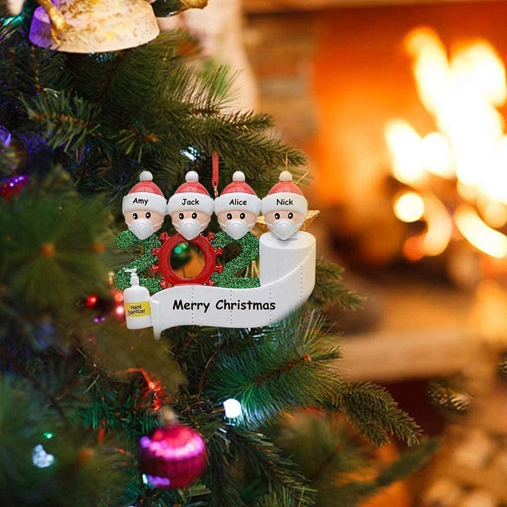 2020 Christmas Ornament Quarantine Survivor Personalized Decorating Gifts Customized Party Decor for 2 Family Members Christmas Decorations Funny Indoor