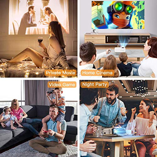 "Mini Projector, APEMAN 3800 Lux 1080P Supported Projector, 180"" Display 45000 Hours LED Life Compatible with TV Stick, TV Box, PS4, HDMI, VGA, TF, AV, USB DVD for Home Cinema[Popular Gift]"