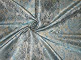 Image of SILK BROCADE FABRIC GREY,BLUE & BUTTER GOLD - Hobbies,Home decor,Sewing,Fashion,Doll Dress,Furnishing,Interior.