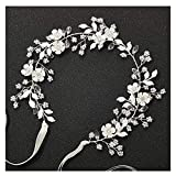 SWEETV Silver Wedding Headband Crystal Bridal Headpieces for Bride Flower Hair Accessories for Women Flower Girl Hair Vine