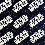 Star Wars Logo auf marineblauem Baumwollstoff mit kleinen