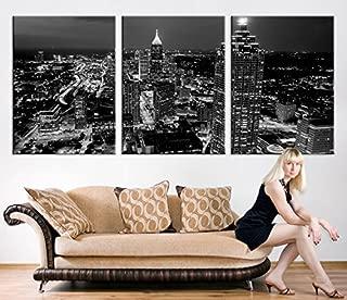 Large Canvas Print - Atlanta Night Skyline Cityscape Black White, Atlanta Large Canvas Print, Atlanta Night Citiescape Art Canvas Print - 20x30 Inch Each Panel- 60x30 Inch Total
