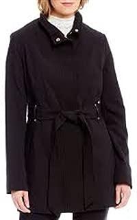 Preston & York Belted Stand Collar Zip Front Coat Women Black
