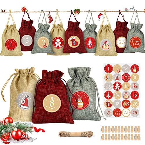 Adventskalender zum Befüllen, Adventskalender Stoffbeutel,Weihnachten Geschenksäckchen mit 24 Zahlenaufklebern für Weihnachten zum Basteln DIY Fabric Advent Calendar Jutesäckchen Bastelset (Gold 2)