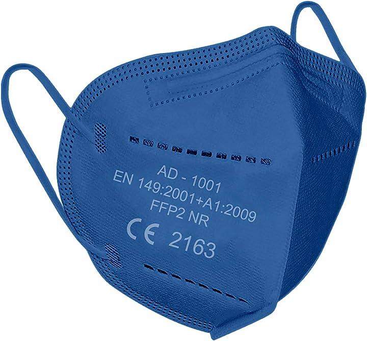 Mascherine ffp2 certificate ce certificazione europea en149: 2001+a1: 2009 eu 2016/42- 20 pezzi colore blue A-1001