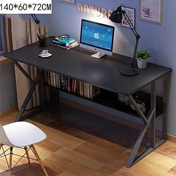 QYN Multifunction Practical Computer Desk Large Simple Computer Table For Home Office Workstation Desk With Storage Shelves Sturdy Metal Frame W 140x60x72cm 55x24x28inch
