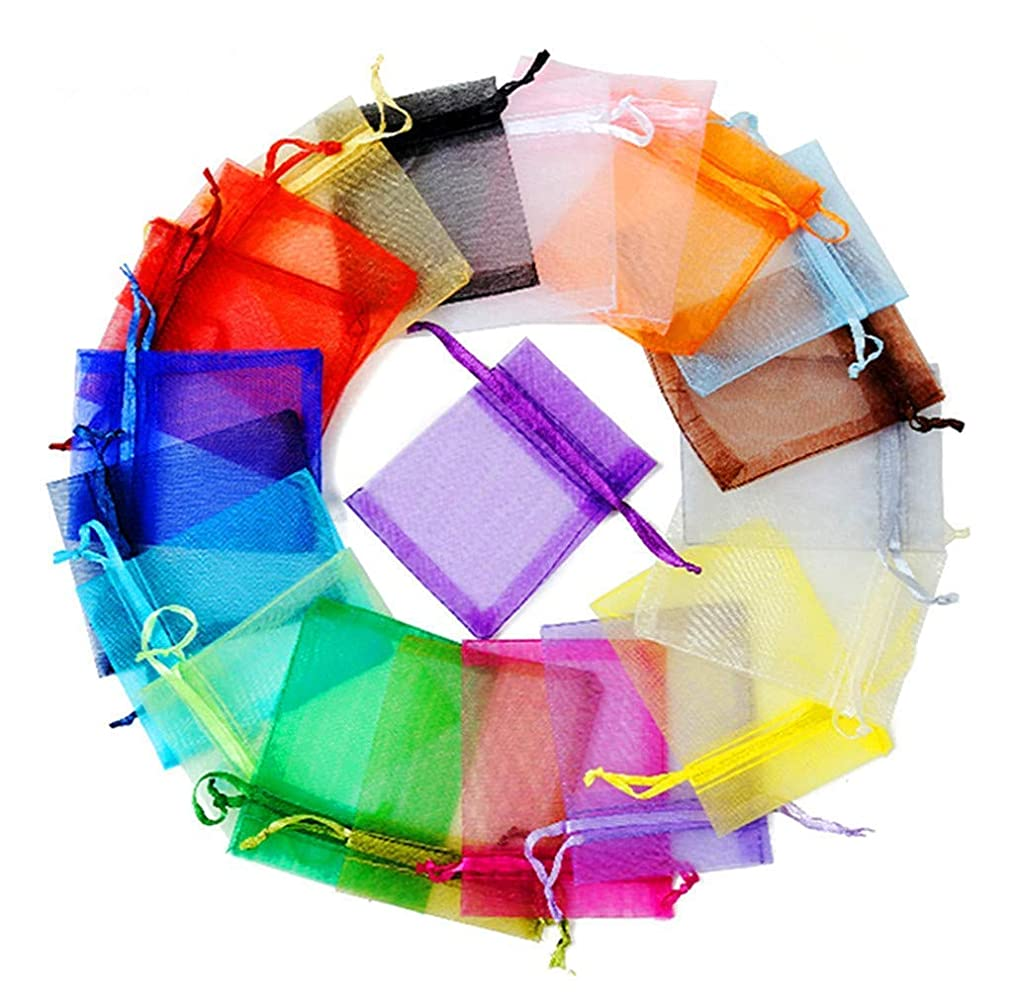 ALIMITOPIA 100pcs Organza Yarn Drawstring Decorations Pouch Jewelry Candy Gift Wrapping Packaging Semitransparent Gauze Bag(5x7 Inches,Assorted 10 Colors)