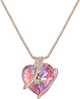 Collar Mujer Colgante Rosa Eterna Plata de Ley 925 Joyeria con Crystal from Swarovski Collares Personalizados con Caja de ...