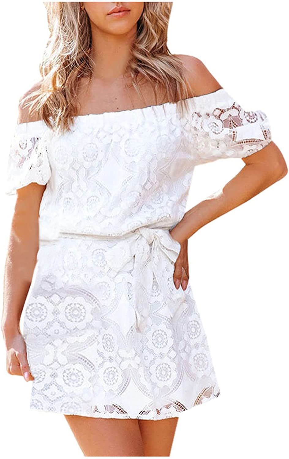 PMUYBHF Women's Off Shoulder Floral Lace Tunic Dresses Tie Waist Hollowed Out Party Mini Dress