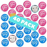 CORRURE 40pcs Gender Reveal Buttons Pins - 2.0' Premium Metal Badge Pins for Team Boy and Team Girl Baby Shower Games - Large Design to Stand Out - Ideal Gender Reveal Party Supplies and Decorations