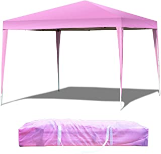Tangkula 10'X10' Outdoor Tent, EZ Pop Up Portable Lightweight Canopy Tent, Height Adjustable, Instant All Weather, Party Wedding Canopy, Gazebo Shelter Tent with Carry Bag (Pink)