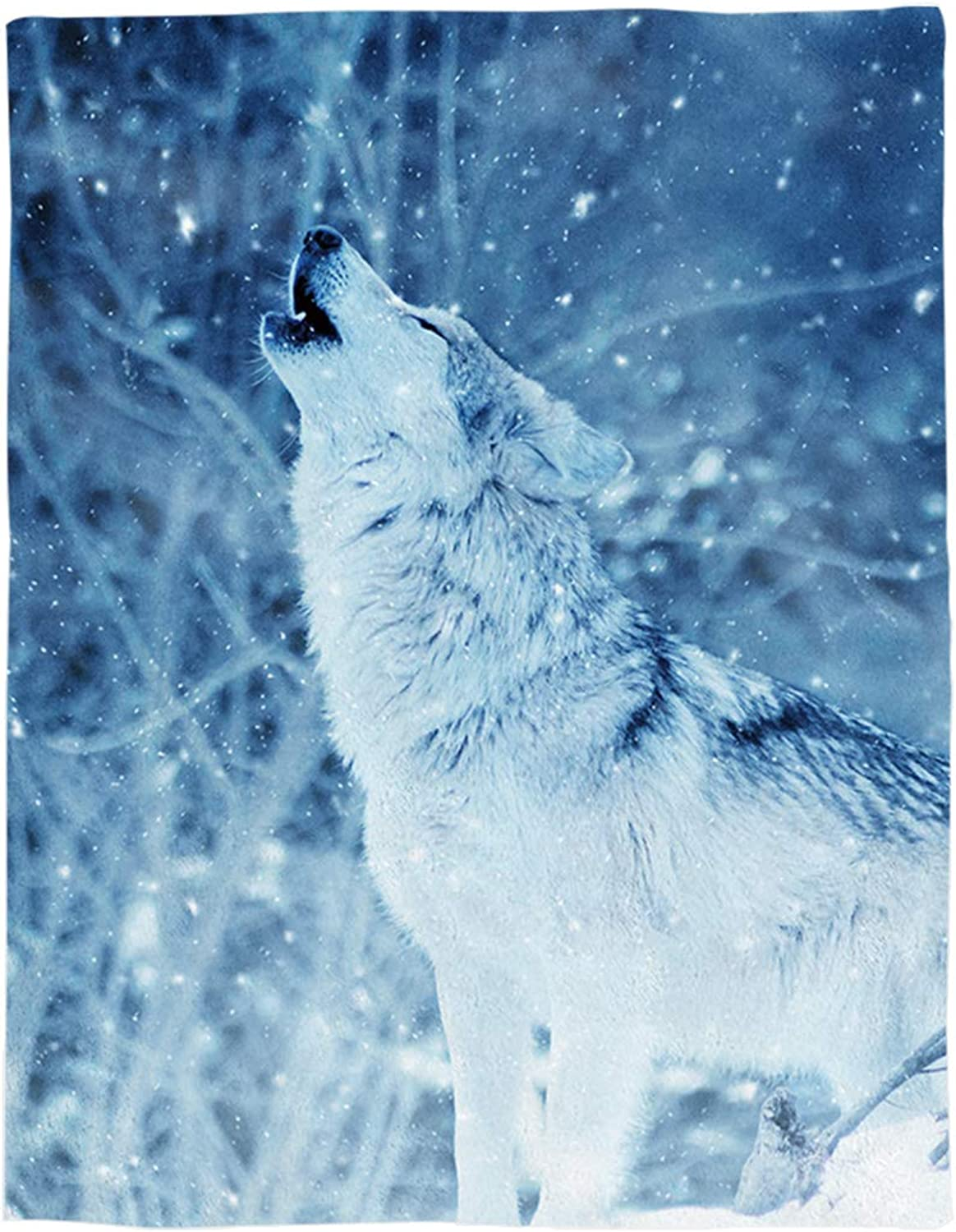 YEHO Art Gallery Flannel Fleece Bed Blanket Soft ThrowBlankets for Adult Kids Girls Boys,White Wolf in The Snow Animal Pattern,Lightweight Blankets for Bedroom Living Room Sofa Couch,49x59inch
