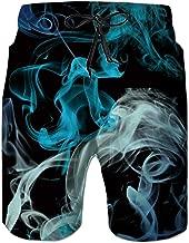 UNIFACO Men's Printed Swim Trunks Button Down Short Sleeve Hawaiian Shirts