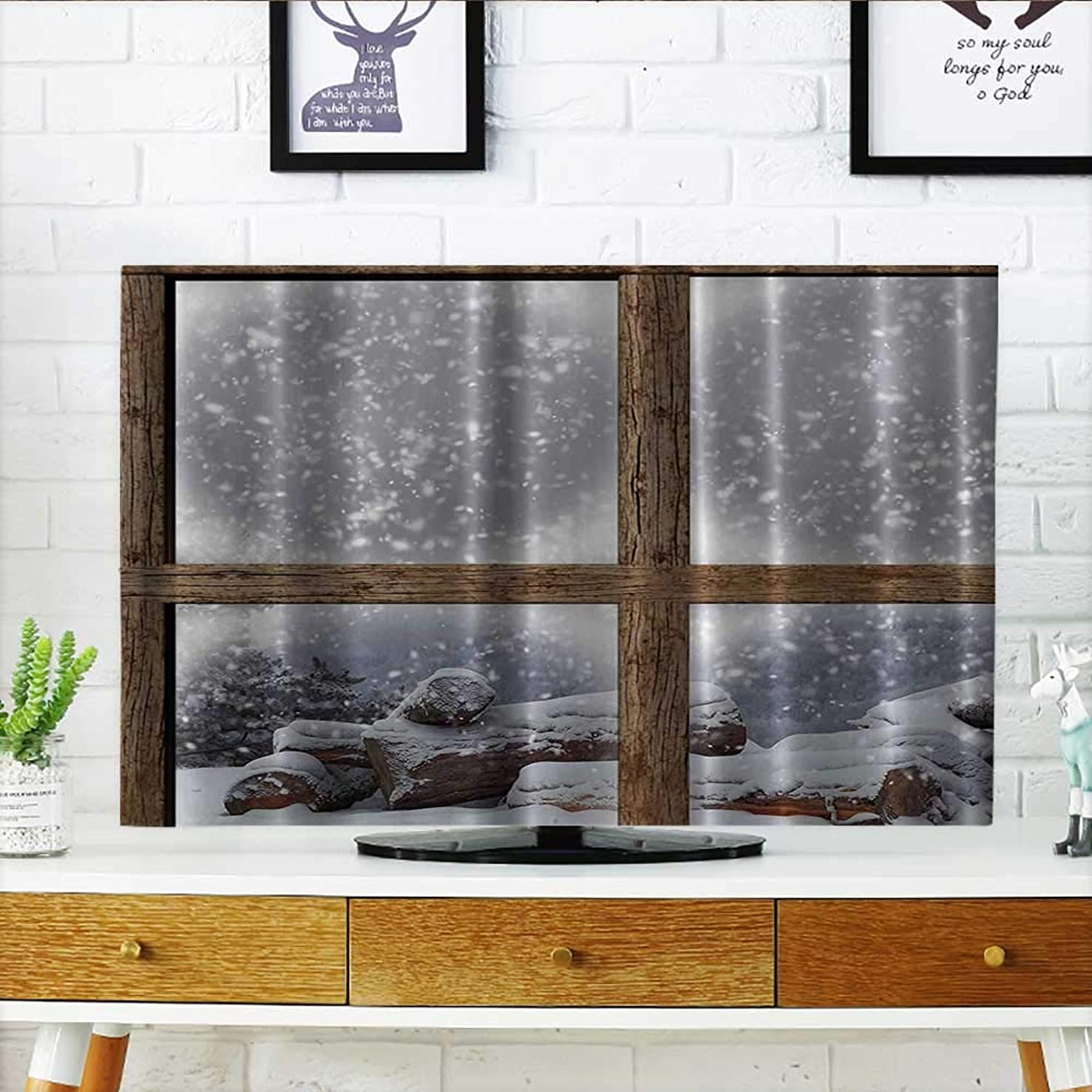 Dust Resistant Television Protector Snowy Woodsy Wooden Frame Window for Lake and Mountain House Home tv dust Cover W19 x H30 INCH/TV 32