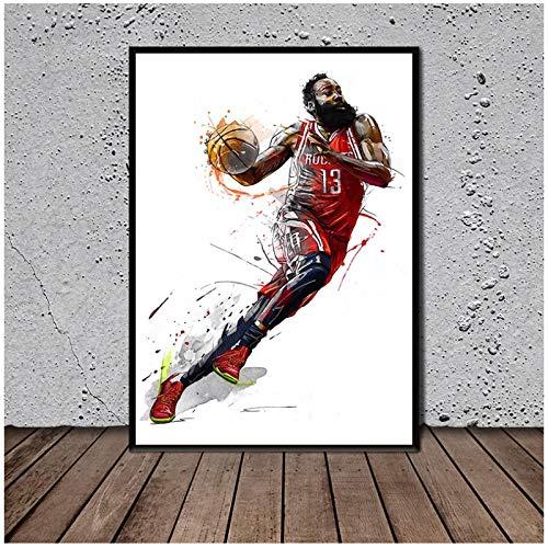 FACAIA Póster del jugador de baloncesto imprime arte lienzo pintura de la pared de la sala de estar, decoración del hogar, 50 x 70 cm, sin marco