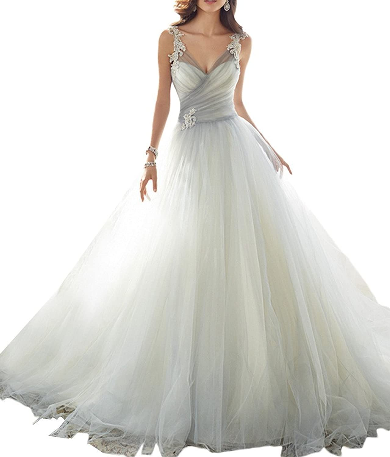 Avril Dress Tulle Ball Gown Appliques Long Train Lace Up Wedding Gown