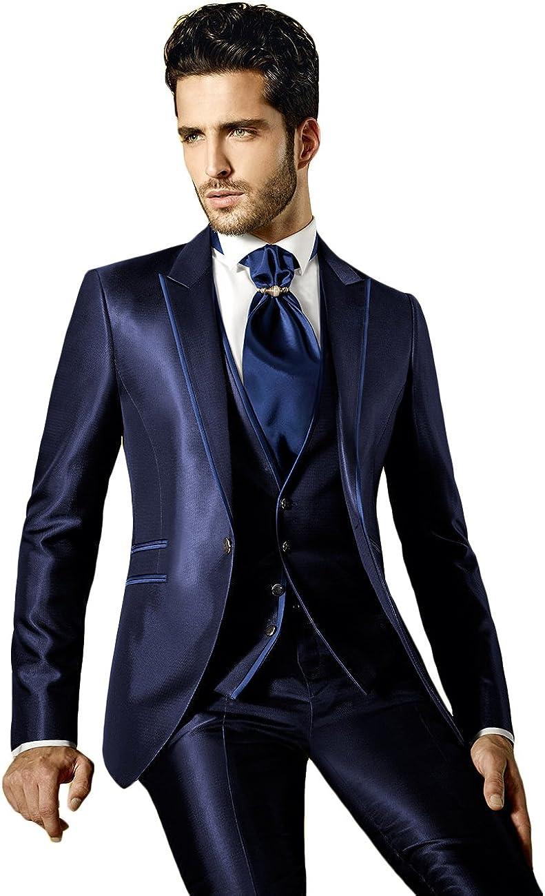 Newdeve Slim Fit Mens Suit Tuxedo Black 3 Pieces Set