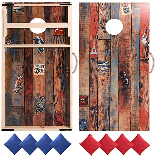 Sportdo Solid Wood Cornhole Set,Two Regulation 2' x 4' Cornhole Boards Set...