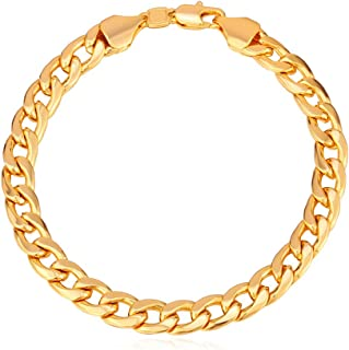"U7 Men Women Cuban Link Bracelet|Stainlss Steel 18K Gold Plated Diamond Cut 3mm 5mm 6mm 7mm 9mm 12mm Wide Miami Curb Chain Wrist Bracelet, Length 6.5"" 7.5"" 8.26"", with Gift Box"