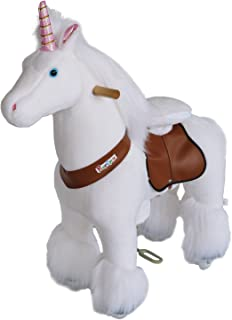 PonyCycle Official Riding Unicorn White Horse Giddy up Pony Plush Toy Walking Animal for Age 4-9 Years Medium Size - N4042