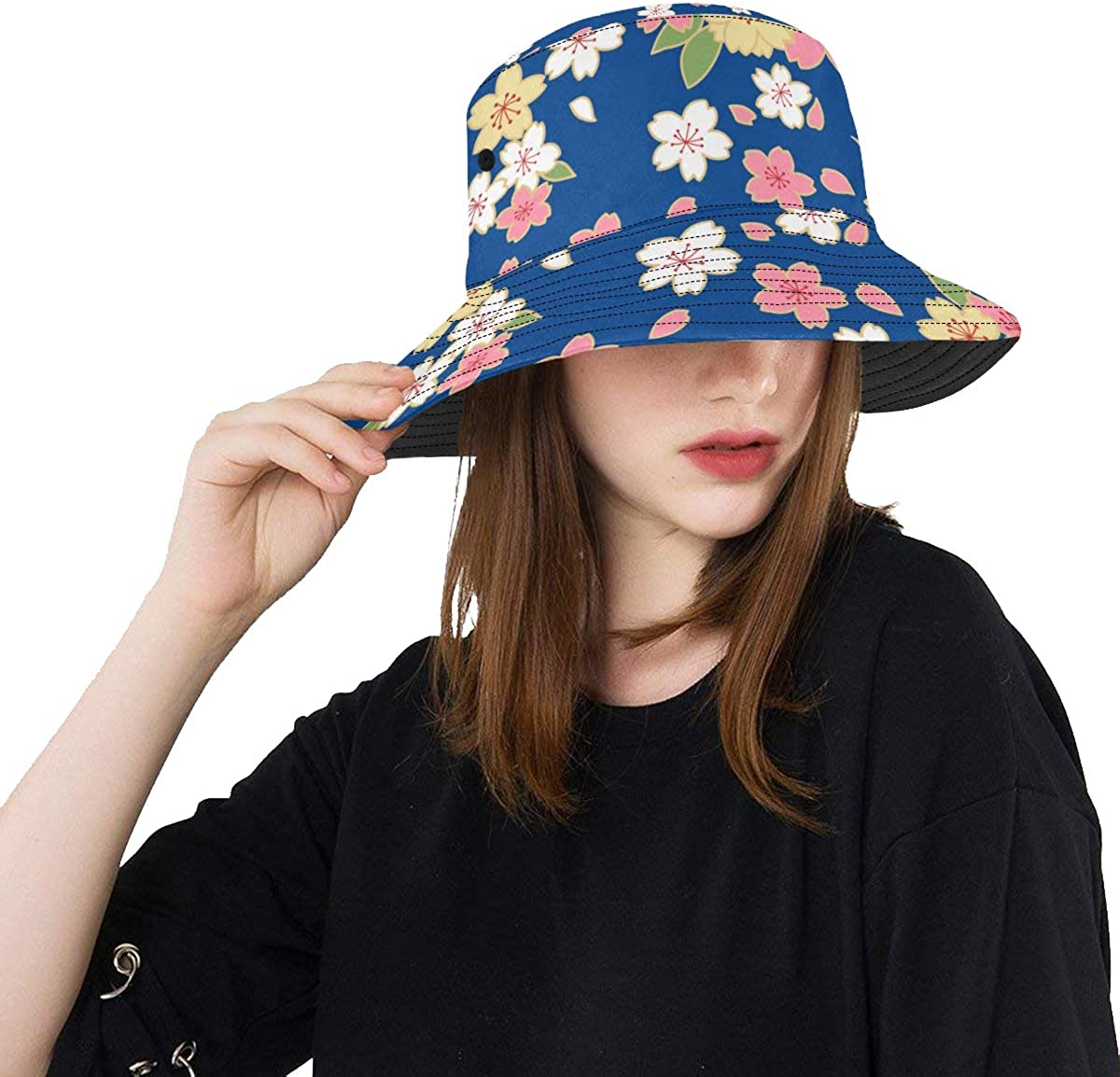 Unique Bucket Hat Japanese Gorgeous Cherry Casua Blossom Pattern Large All items in the store discharge sale