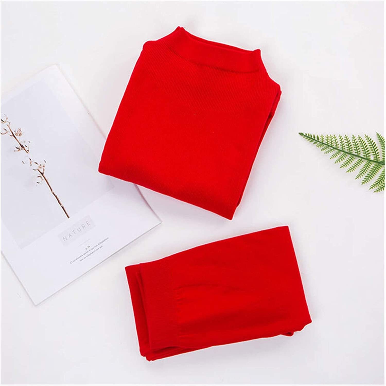 LCM Turtleneck Inner Wear for Women Thermal Underwear Woman Set Warm Autumn Body Warmer Shaper Women's Cotton (Color : Red, Size : (40 70kg))