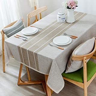 Japanese Cotton Linen Tablecloths,Dust-Proof Table Cover,Furniture Protector Great for Buffet Table Parties Bbq's Wedding More-B 130x190cm(51x75inch)