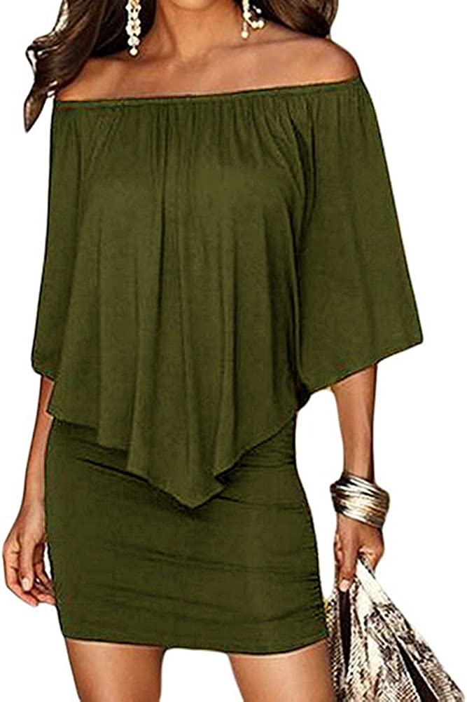 Haola Women's Summer Cold Shoulder Off Ruffles Bodycon Mini Dress