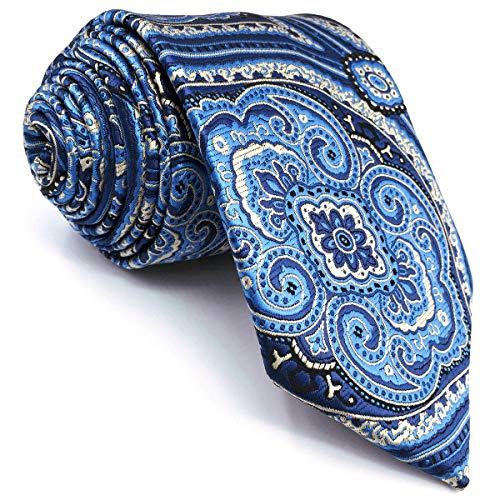 S&W SHLAX&WING Corbatas for Men Azul Amarillo Cachemir Corbatas Boda 147cm