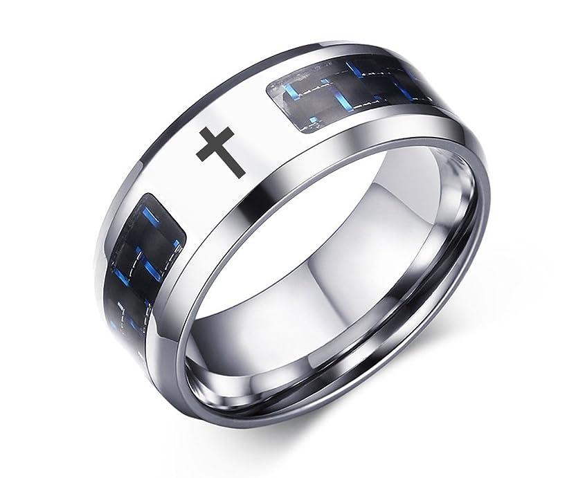 VNOX Religious Jewelry Christian Cross Stainless Steel Blue Carbon Fiber Rings Egagement Wedding,Size 7-12