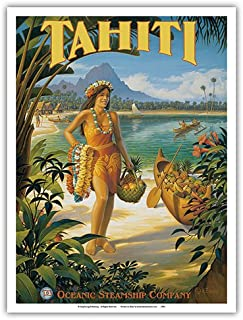 Tahiti - Oceanic Steamship Company - Tahitian Native with Fruit and Flower Leis - Vintage Style Ocean Liner Travel Poster by Kerne Erickson - Master Art Print - 9in x 12in