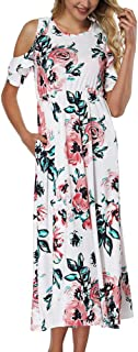 2a739ea064a HOOYON Women s Casual Floral Printed Long Maxi Dress with Pockets(S-5XL)