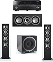 ELAC Uni-Fi 3.1 System with 2 ELAC UF5 Floorstanding Speakers, 1 ELAC UC5 Center Speaker, 1 ELAC Debut S10EQ Powered Subwoofer, 1 Yamaha RX-A870 A/V Receiver