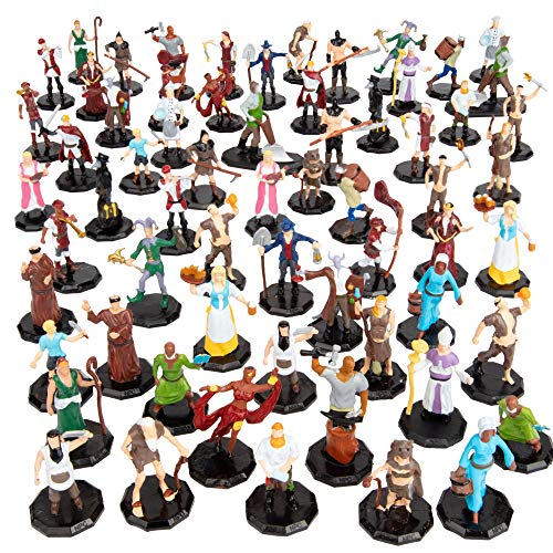 Townsfolk Mini Fantasy Bulk Figures Set- 64 Hand-Painted Miniatures (2X of 32 Unique Sculpts)- 1'...