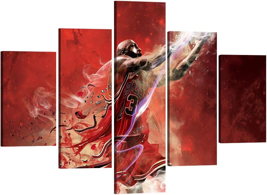 5 Detroit Mall Piece MJ Canvas Wall Art Decor Home Flying Poste Bombing new work Man for
