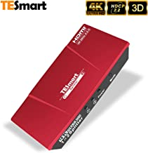 TESmart 4K 1x2 HDMI Splitter 4K@60Hz 4:4:4 Powered 1 in 2 Dual HDMI Splitter for Dual Monitor Ultra HD 4K@60Hz 4:4:4 Compatible with PC PS3 PS4 Xbox-HDMI 2.0, HDCP 2.2, HDR, RGB, YUV, 18 Gbps (Red)
