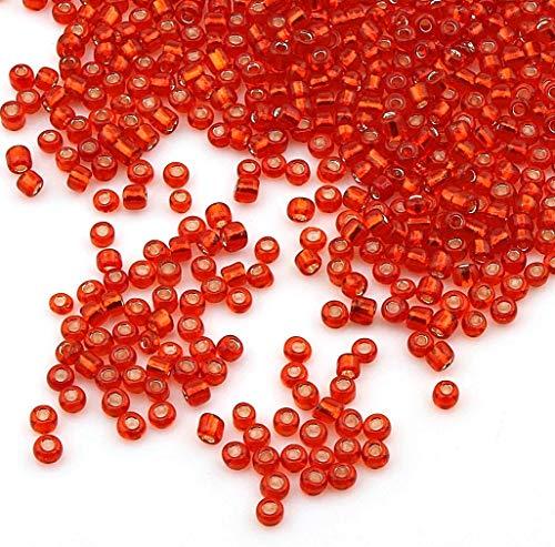 3300 Stück Glas Rocailles Perlen 3mm Silbereinzug, Silber Gefüttert, 8/0, Pony Perlen, Silber ausgekleidet, Silver Lined Seed Beads, Farbauswahl (Rot)