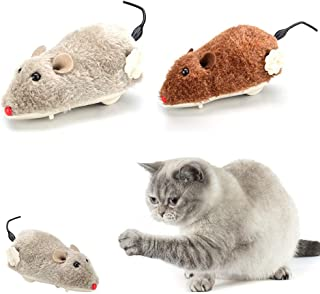 xxiaoTHAWxe Pet Dog Cat Plush Funny Toy Mouse Animal Clockwork Wind Up Running Play Gift - Random Color