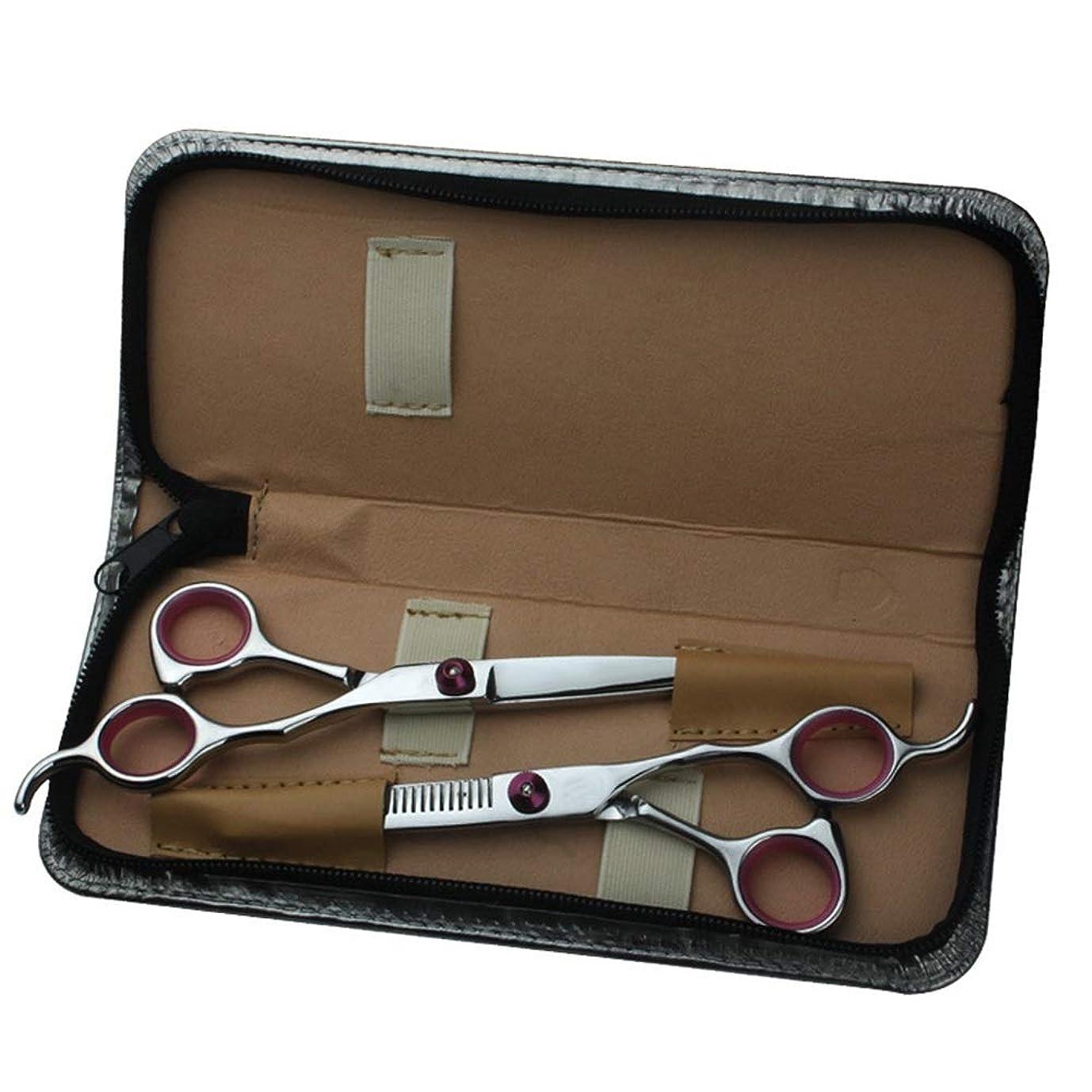 豊かな軸極貧6インチ家族DIY理髪はさみセット、プロのヘアカット美容ツールセット モデリングツール (色 : レッド)